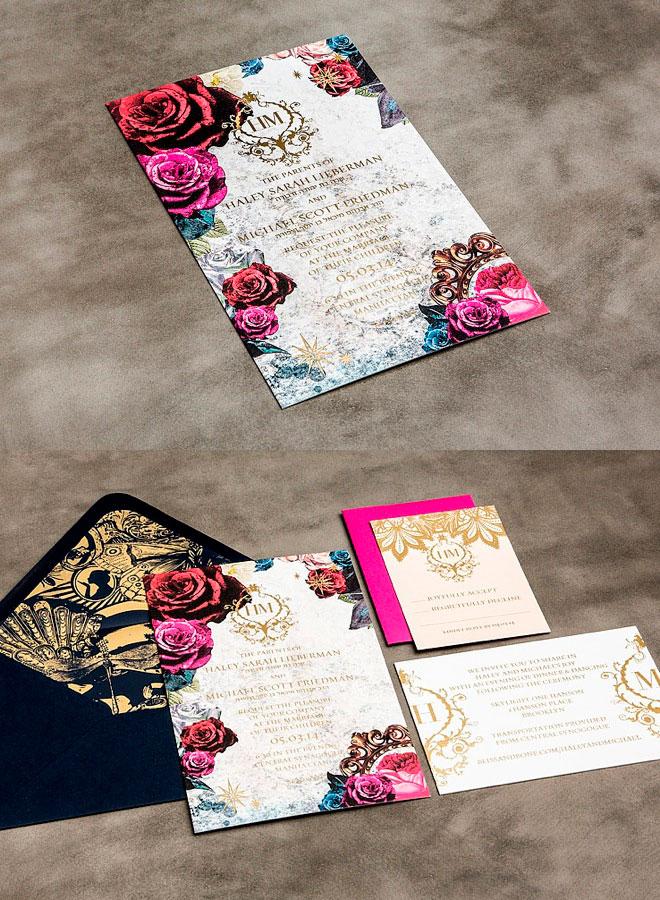 тема цветов с свадебных приглашениях