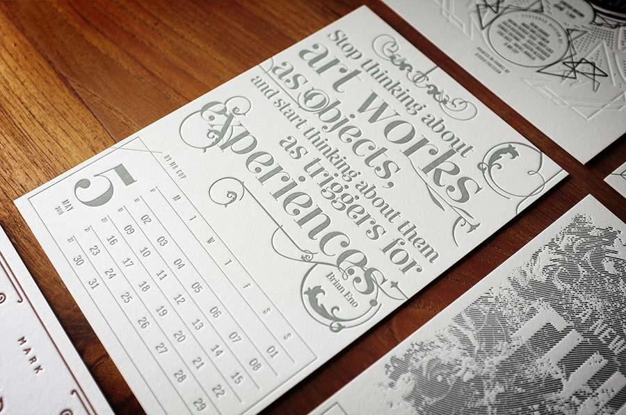 календарь Letterpress