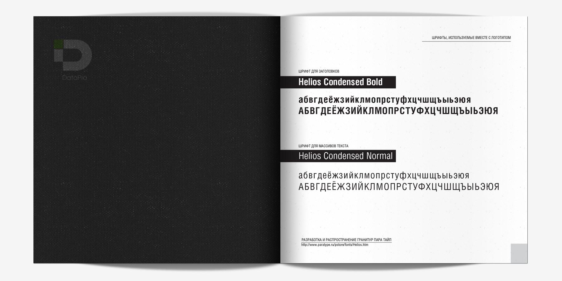 разворот брендбука ИТ-компании о шрифтах