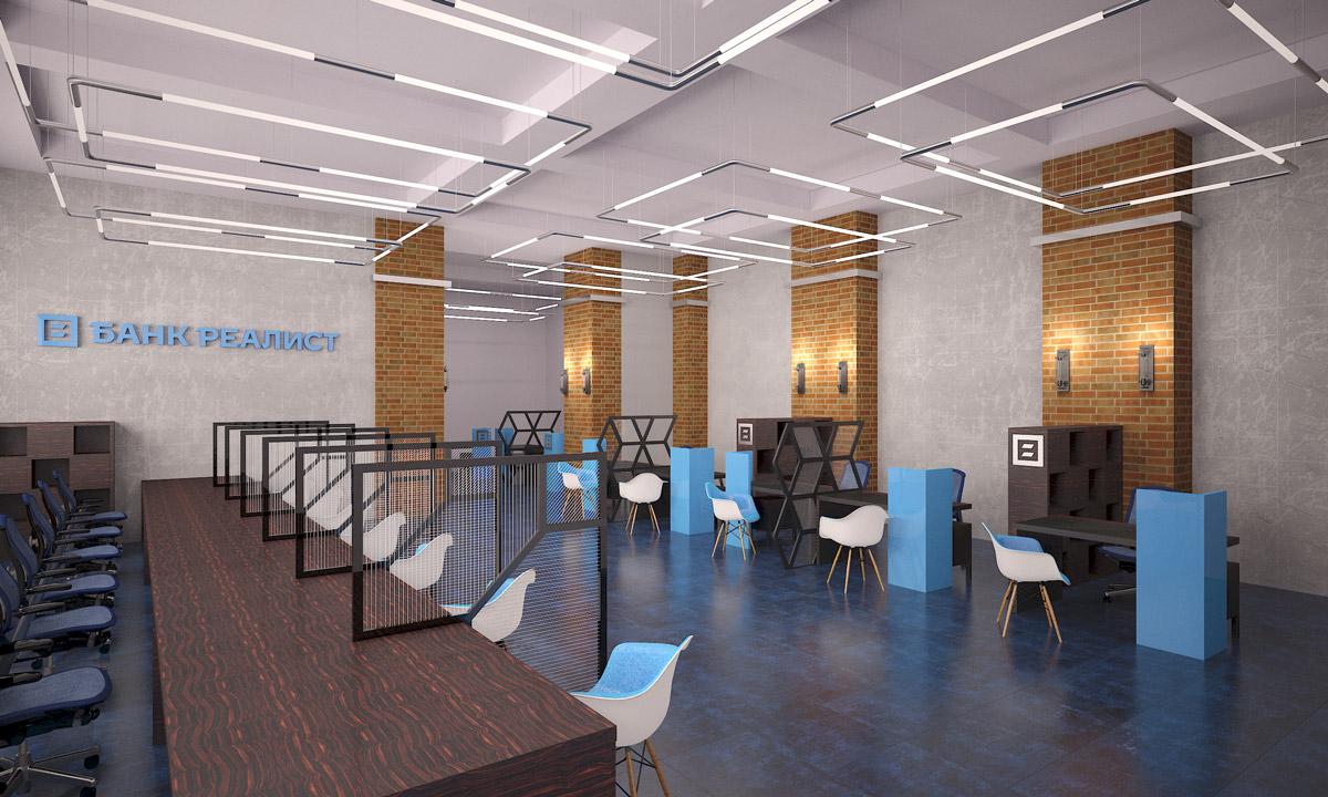 операционный зал банка: дизайн стойки и рабочих мест