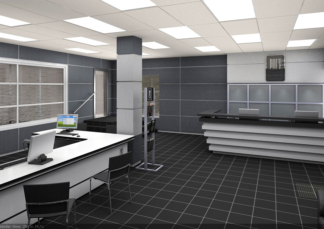интерьер операционного зала банка