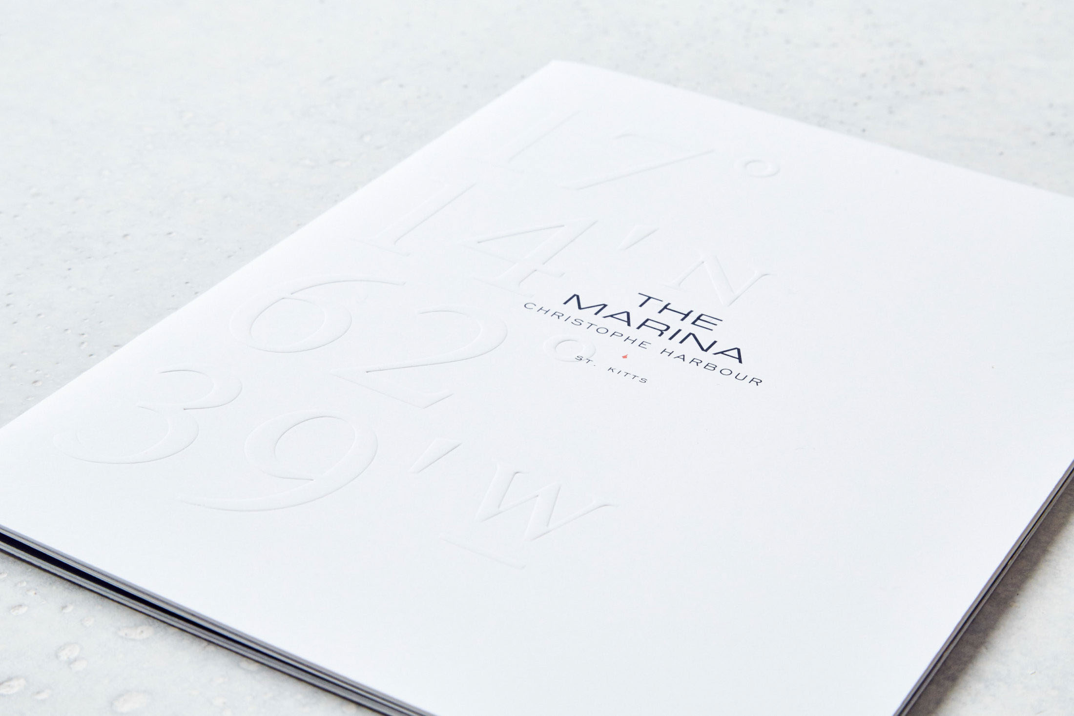 белая брошюра с тиснением